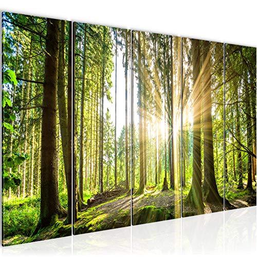 Bilder Wald Landschaft Wandbild 200 x 80 cm Vlies - Leinwand Bild XXL Format Wandbilder Wohnzimmer Wohnung Deko Kunstdrucke Grün 5 Teilig - MADE IN GERMANY - Fertig zum Aufhängen 503855b