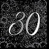 Unique Papierservietten mit Foliendruck für den 30. Geburtstag,silber,16er pack