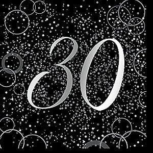 Unique Party- Paquete de 16 servilletas de papel de 30 cumpleaños, Color plateado metálico brillante (57480)