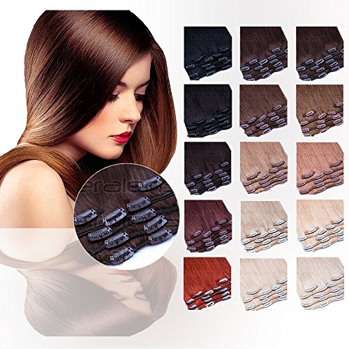 Clip In Extensions Set 100% Echthaar 7 teilig 70g Haarverlängerung 45 cm Clip-In Hair Extension Nr. 60 ()