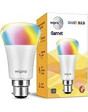 Wipro Garnet Smart Light 7W B22 LED Bulb, Compatible with Amazon Alexa & Google Assistant
