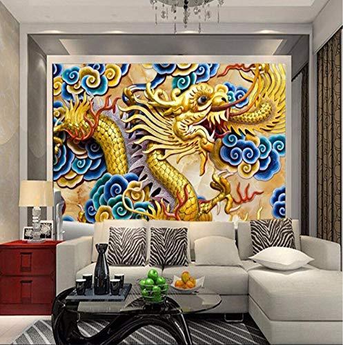 Yirenfeng Papel Tapiz De Pared Foto De Fondo De Anaglifo Dragón Chino Habitación Del Dormitorio Papel Mural Murales-3D3D140X70Cm