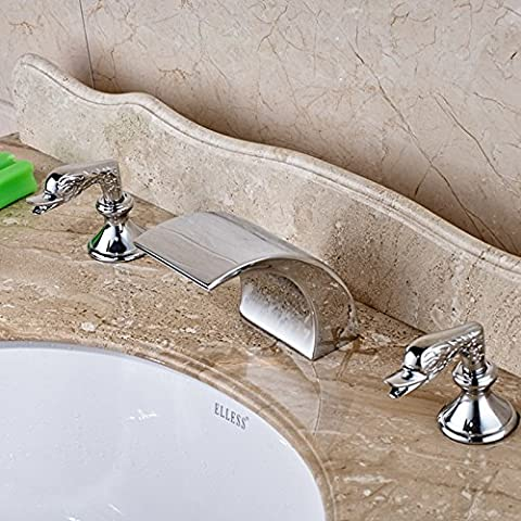 Deluxe Faucet Polished Chrome Roman Bathroom Tub Faucet Vessel Sink Mixer Tap Waterfall Tap