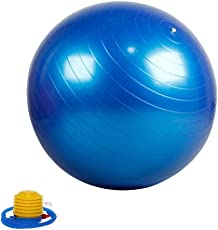 Inditradition Anti Burst Gym Ball with Foot Pump, Blue