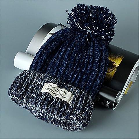 Las mujeres Knit Beanie Gorro de invierno lana pelota llegó a ganchillo Cap Azul marino