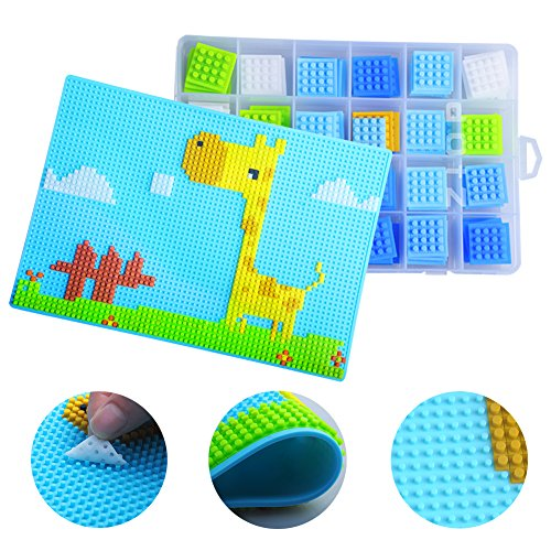 Jigsaw Puzzle Mosaic with Board Box Toddler Kids - Silicone Creative Puzzle for Boy Girl Children Age 3-6 (Blue)