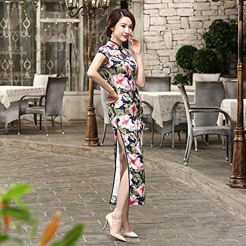 Bigood Robe Qipao Femme Soie Imité Cheongsam Rétro Style Double Couche Multicolore