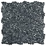 "SomerTile PGYPGR Caillou Pebble Stone Mosaic Floor and Wall Tile, 12.25"" x 12.25"", Graphite"