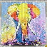 oklety Vorhänge mit Wasserdicht Duschvorhang Elefant-Ölgemälde, 60x 60cm