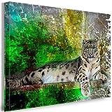 Julia-art Leinwandbilder - Leopard Abstrakt Grün Bild 1 teilig - 60 mal 40 cm Leinwand auf Rahmen - sofort aufhängbar ! Wandbild XXL - Kunstdrucke QN.36-2