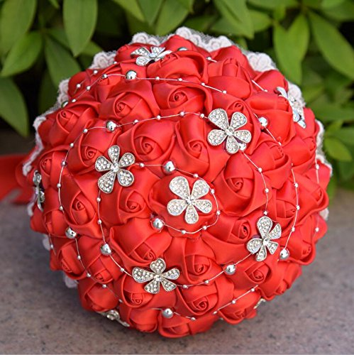 Perlée Fleur Style Fleurs Artificielles En Soie Fleurs Cristal Roses Demoiselle D'honneur De Mariage Bouquet De Mariée De Mariage Cadeau ( Color : Rouge )