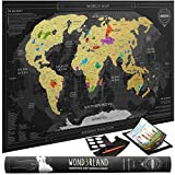 Premium Scratch Off Map of the World with outlined countries | Gold Personalized Wall Map Poster | Deluxe Gift for Travelers & Travel Tracking | BONUS Adhesive Stickers + Scratching Tool + Wiping Cloth + Traveling eBook