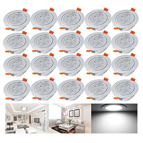Hengda® 20er-Pack 5W LED Einbauleuchten Kaltweiß 6500K AC 230V Schwenkbare Einbauspots mit Kabel Trafo für Wohnraum, Büro, Flur, Wand, Decke