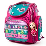 Delune Girl's Waterproof Schoolbag Printed Bird and Butterfly Orthopedic backpack With Doll
