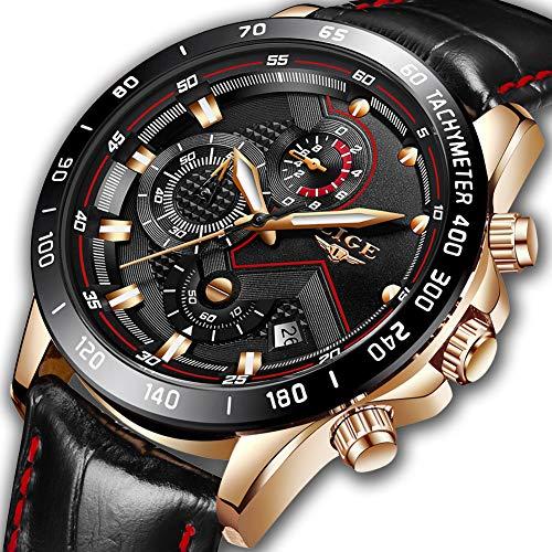 LIGE Relojes para Hombre Moda Impermeable Deportes Reloj de Cuarzo Esfera Negra Reloj de Pulsera de Cuero Cronógrafo Calendario Reloj de Negocios para Hombres