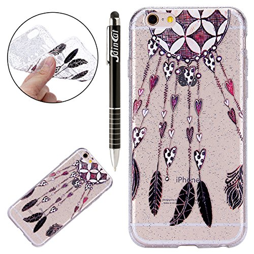 Custodia iPhone 6, iPhone 6S Cover Sottile Silicone, SainCat Cover per iPhone 6/6S Custodia Silicone Morbido, Bling Glitter Shock-Absorption Ultra Slim Transparent Silicone Case Ultra Sottile Morbida  Ciondolo Damore