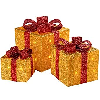 WeRChristmas Gift Box Silhouette with 35 Warm White LED Lights and Tinsel Christmas Decoration - Gold, Set of 3