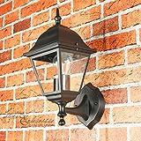 Wandleuchte rustikal außen / schwarz / 1x E27 bis 60W 230V / Wandlampe IP44 / Außenleuchte nostalgisch / Up Leuchte stehend aufwärts / Gartenlampe Hof Beleuchtung Laterne