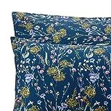 URBANARA Kissenbezug Laviano - 100% Reine Baumwolle, Dunkelblau mit mehrfarbigen Blumenmuster – 80 x 80 cm, Einzelne Kissenhülle, Perkal-Kissenbezug, Baumwoll-Kissenbezug