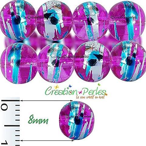 Confezione 100 pezzi, perle in vetro, Filée 8 mm, per creazione gioielli Viola
