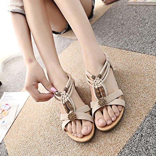 Vovotrade Frauen Casual Peep-Toe Flache Schnalle Schuhe römische Sommer Sandalen Beige