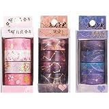 12 Rouleaux Washi Tape Set Ruban Adhésif Papier 5 M Décoratif Masking Tape pour Scrapbooking, Artisanat de Bricolage, Travaux