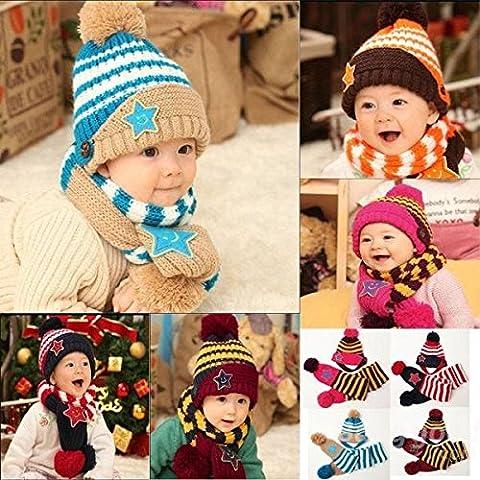 mark8shop bébé enfants chaud de Noël étoile Imprimé Hat écharpe