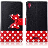"Para Sony Xperia T3 (5.3 "") , TUTUWEN Beautiful Lindo Bowknot [Magnética] Design Flip Stand [Flap Cierre] PU Cuero Billetera Case Protector Tapa Funda Carcasa Cover para Sony Xperia T3 (5.3 inch) D5103 D5102"
