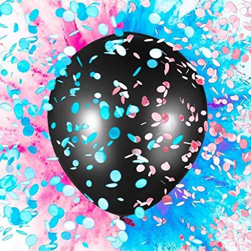 DreamJing Geschlecht Decken Ballon Konfetti Dekoration für Mädchen Jungen,36 Zoll Schwarz Latexballon Baby Duschen Geschlecht Offenbaren Party Supplies (Schwarz Baby-dusche Und Rosa)