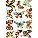Creativ - Figuras de papel (16,5 x 23,5 cm, 3 hojas), diseño vintage de mariposas
