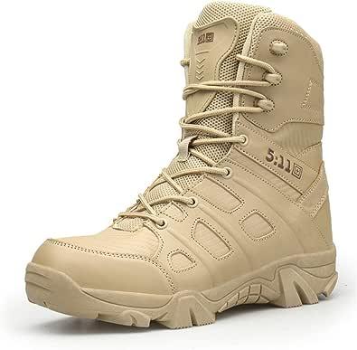WOJIAO Bottes Militaires de Plein air pour Hommes Printemps et été Chaussures de randonnée Bottes de Neige Tactiques Commando Desert Imperméables et faciles à Porter