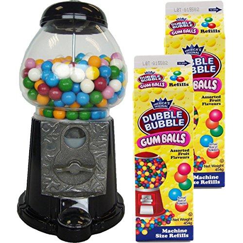 Gum Ball Maschine Kaugummiautomat 28cm groß schwarz + 2 Milchtüten (Maschinen Gum Bubble)