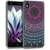 kwmobile Funda para bq Aquaris X / X Pro - Case para móvil en TPU silicona - Cover trasero Diseño sol indio en azul rosa fucsia transparente