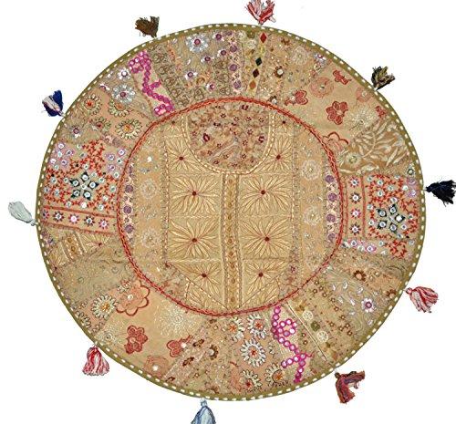 Sophia Art Bohème De Coussin De Sol Rond Patchwork Pouf Ottoman Vintage  Indien Repose Pieds