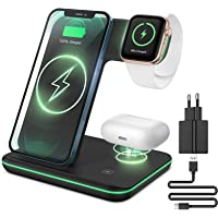 CAVN 3 in 1 Kabelloses Ladegerät, Wireless Charger Kompatibel mit iPhone 13 12 11 Pro Max/XS/XR/X/8+, iWatch 6/SE/5/4/3…