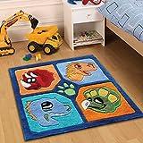 Flair Rugs Teppich Kiddy Play Dino Kinder Teppich, Multi, 90x 90cm