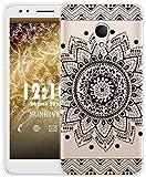 Sunrive Für Alcatel 1X Hülle Silikon, Transparent Handyhülle Schutzhülle Etui Case für Alcatel 1X 5059D(TPU Blume Schwarze)+Gratis Universal Eingabestift