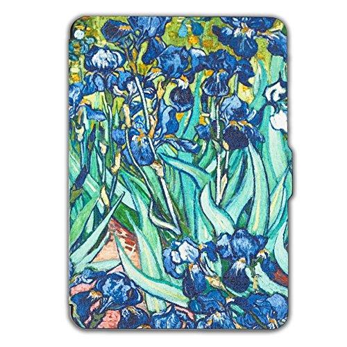 Schutz Hülle Tasche für Amazon Kindle Paperwhite Smart Tasche Etui Cover Case,Van Gogh Iris (Fabrik-leder-jacke)