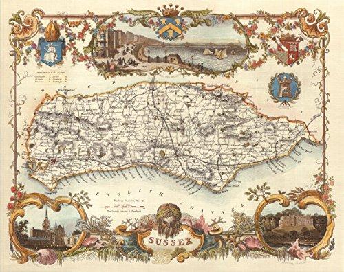 Sussex-Antike Weltkarte-- Karte, 50.80 x 40.64 cm - County England-antik-karte