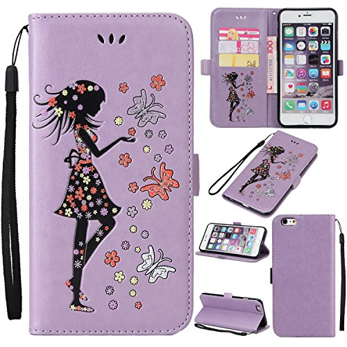 EKINHUI Case Cover Fairy Girl & Flowers Embossing Style Synthetik Leder Tasche Horizontale Flip Stand Brieftasche Tasche mit Lanyard & Card Slots für iPhone 6 Plus & 6s Plus ( Color : Blue ) Purple