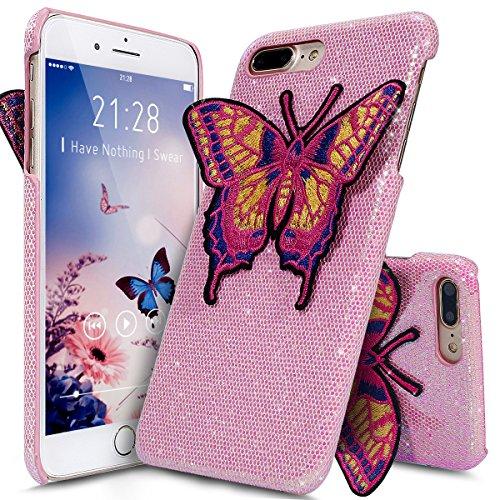 Coque iPhone 7 Plus,Étui iPhone 7 Plus,iPhone 7 Plus Case,ikasus® Coque iPhone 7 Plus Hard Étui Housse Téléphone Couverture Hard avec Modèle de diamant brillant Handcraft 3D Papillon brodé Modèle Ultr Rose