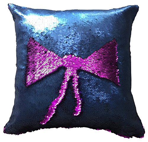 Bicolore Sirena federe fai da te Magic reversibile sequinschangeable Pattern Fashion rettangolare federa auto divano decorativo federa Cuscino 40 x 40 cm hot pink/navy blue