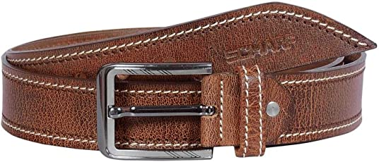 SCHARF Men's Henry Ralph Code Cut Brown Leather Men's Belt BMC58
