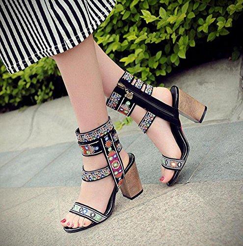 WOMEN Open Toe Punps Bestickte Leder Schuhe Sommer Stiefel Slingback Roman Sandalen Schwarz Black