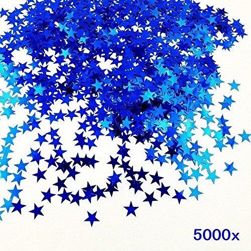 JZK® 5000 x 1cm blau Sterne glitzer plastik Konfetti Tisch Confetti, Handwerk Geschenk Deko Zubehör, für Hochzeit Geburtstag Taufe Party Weihnachten Festival (blau sterne)