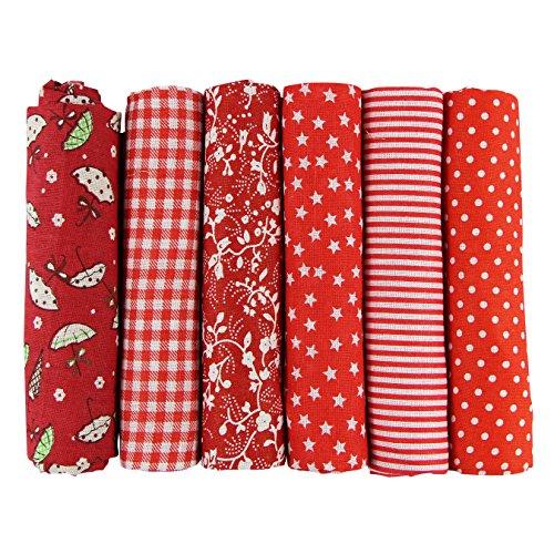 UOOOM 6 Stueck 50 x 50cm Stoffpakete Patchwork Stoffe Baumwolle tuch DIY Handgefertigte Nähen Quilten Stoff Baumwollgewebe Verschiedene Designs (Rote) -