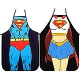 U/K 2 juegos de delantales de cocina-versión de Superman para hombres y mujeres, delantales de pareja, delantales de superman