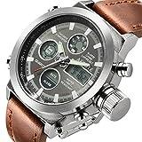 Herren Sport Analog Quarz Digital Uhren braun mit Lederband Alarm Chronograph Wasserdicht Armbanduhr Silber