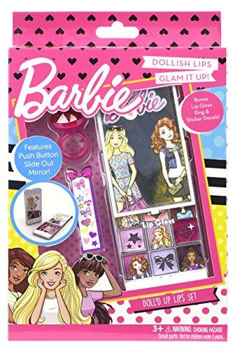 Markwins Barbie Lipgloss Set, in Handyform mit 9 verschiedenen Farben, Ring, Sticker und Applikator