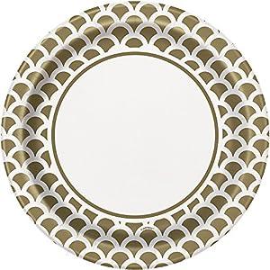 Unique Party Paquete de 8 platos de papel con diseño de concha Color oro 23 cm 37235